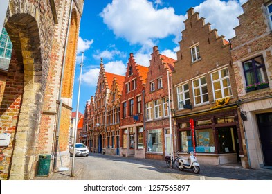 Beautiful narrow streets and traditional houses in the old town of Bruges (Brugge), Belgium