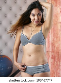 52f044c763a Beautiful Native American Model Wearing Lingerie Stock Photo (Edit ...