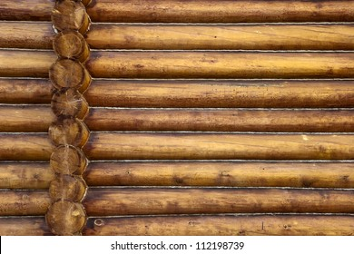 Beautiful Natural Background Pattern of a Log Wall