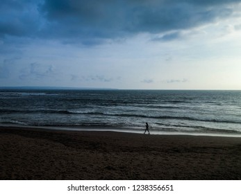 Beautiful Natural Beach Panorama At Batu Bolong Beach, Canggu Village, Badung, Bali, Indonesia