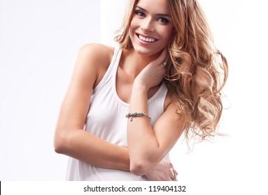 Beautiful natural blonde woman
