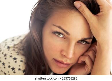 Beautiful natural blonde woman without makeup. Natural skin