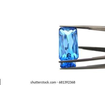 Beautiful natural blue topaz,gemstone,isolated on white background