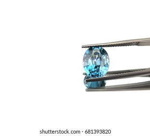 Beautiful natural blue zircon,gemstone,isolated on white background