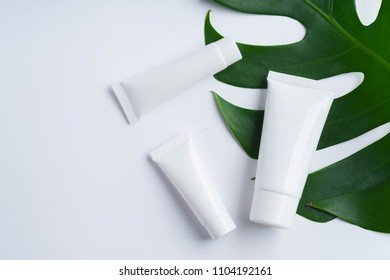 Beautiful natural cosmetics and leaves on light background