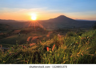 The beautiful of the natural environment during sunrise and sunset at (Khao Takhian Ngo View Point ) ,Khao Kho District ,Phetchabun Province in Thailand