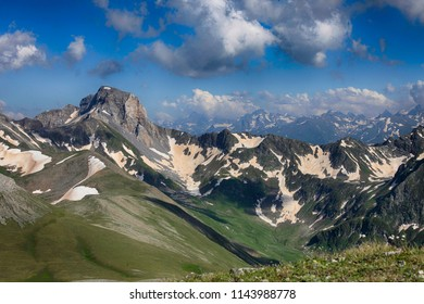 Beautiful natural landscape with a view of the mountain range of the Caucasus in Russia