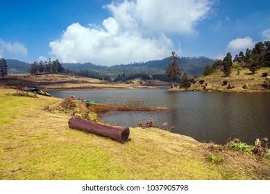 Beautiful natural Mannavanur lake near Kodaikanal on Nilgiri hills.