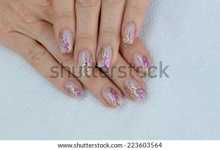 Beautiful Natural Nude Nail Art Design Stock Photo Edit Now