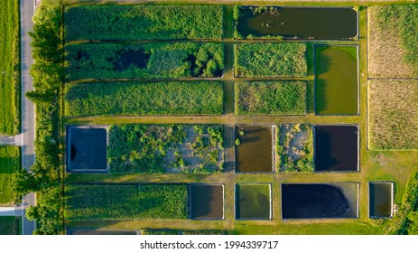 Beautiful natural Patterns of Farmfields in Countryside at Summer. Drone Aerial View, birds eye view. High quality photo