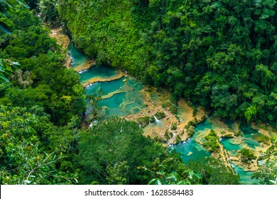 Beautiful natural pools in Semuc Champey, Lanquin, Guatemala, Central America