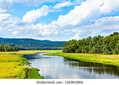 Beautiful natural river landscape with forest and hills. Czech Republic, Eastern Europe.
