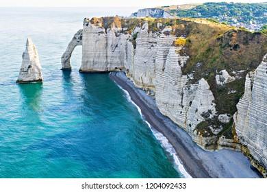 Beautiful natural rock arch. Alabaster Coast at Etretat. Normandy, France.