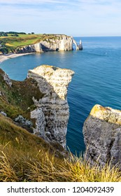 Beautiful natural rock arch the Aval door, Etretat, Normandy, France.