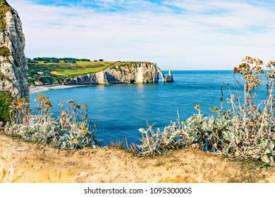 Beautiful natural rock arch, Etretat, Normandy, France.
