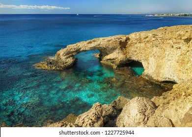 Beautiful natural rock arch near of Ayia Napa, Cavo Greco and Protaras on Cyprus island