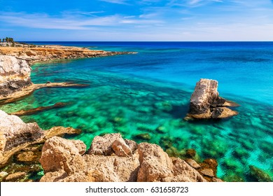 Beautiful natural rock near of Ayia Napa, Cavo Greco and Protaras on Cyprus island, Mediterranean Sea. Amazing blue green sea and sunny day.