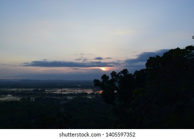 Beautiful natural scenery before sunset in the afternoon - the background of the sunset in the summer. Sunset in Indonesia