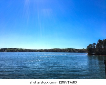 A beautiful natural Scenery of Lake Norman River With Tropical Green Forest in Charlotte, NC