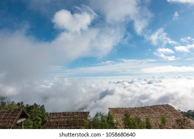 Beautiful natural sea of fog in Mon Cham (Mon Jam) mountain, Mae Rim, famous travel location in chiangmai, Thailand.