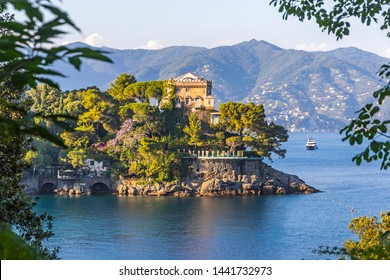 Beautiful natural view of the Bay of Paraggi in Santa Margherita Ligure, Mediterranean seacoat near luxury sea resort Portofino, Italy