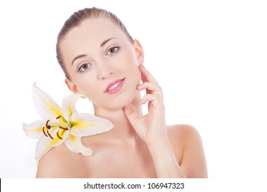 beautiful natural woman with white flower isolated on white background