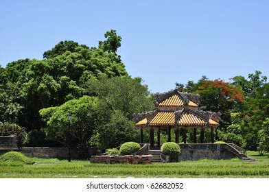 Beautiful nature and architecture at a park in the Hue Citadel, Vietnam