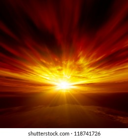 Beautiful nature background - red sunset, bright sun