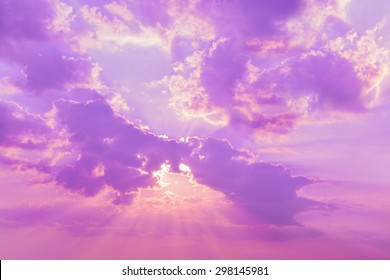 Beautiful nature background. Sunset sky and clouds at twilight time