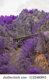 beautiful nature and bridge high in the mountain