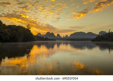 Beautiful nature during sunrise at Baan Nong Thale in Krabi Province, Thailand. It is a beautiful location and very popular for photographers. Traveling and attractions concept
