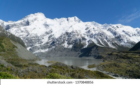 Beautiful nature of Hooker Valley Track in Mount Cook, New Zealand.