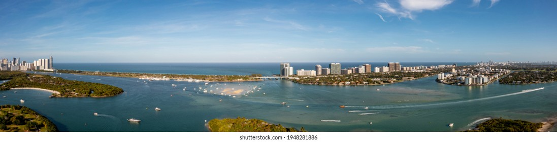 Beautiful nature landscape aerial photo Miami Beach view of inlet and sandbar - Shutterstock ID 1948281886