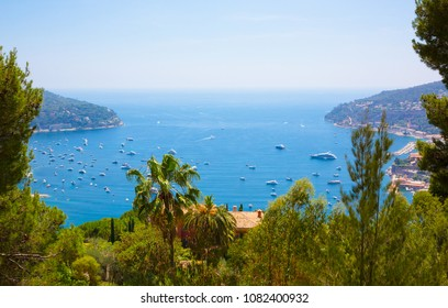 Beautiful Nature Landscape of the Cote d'Azur. Aerial View of bay Luxury resort Villefranche-sur-Mer on French Riviera at Mediterranean Sea. Amazing Horizontal wallpaper. Europe. France.