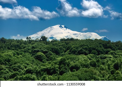 Beautiful nature landscape of Elbrus Mount. Telephoto zoom lens shot