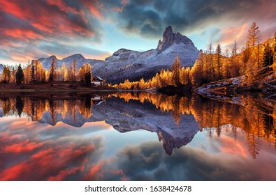 The beautiful nature landscape. Great view on Federa Lake early in the morning. The Federa lake with the Dolomites peak, Cortina D'Ampezzo, South Tyrol, Dolomites, Italy. popular travel locations.