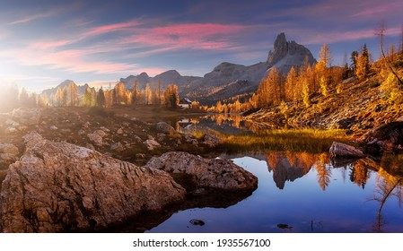 The beautiful nature landscape. Great view on Federa Lake early in the morning. The Federa lake with the Dolomites peak, Cortina D'Ampezzo, South Tyrol, Dolomites, Italy. popular travel locations
