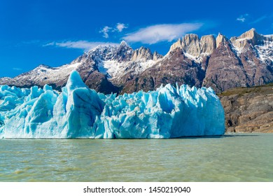 Beautiful nature landscape with Grey Glacier and Grey Lake at Torres del Paine National Park in Southern Chilean Patagonia Ice Field