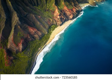 beautiful nature landscape in Kauai island Hawaii. View from helicopter/plane/top. Forest. Mountains. Ocean. View . Drone