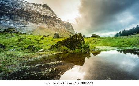Beautiful nature landscape mountain Include Light shines and rock against sky in Appenzell Alps  Urnasch Switzerland