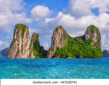 Beautiful nature landscape with sea and rocky island in Halong bay, Vietnam, Southeast Asia