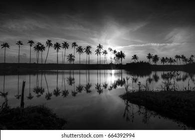 Beautiful nature landscape, sunrise in early morning at tropical beach, Terengganu, Malaysia.