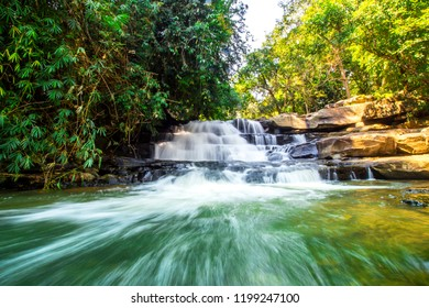 """Beautiful Nature Landscape """"Than Thong""""  Waterfall in Nong Khai Province, Thailand with motion blurred water splash. It is a popular to relax during the weekend.Long Exposure and HDR Tone Style."""