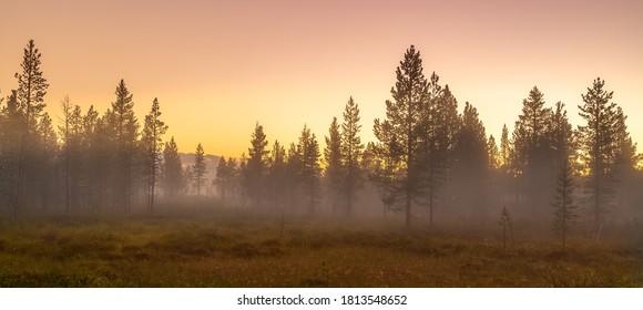 Beautiful nature of Lapland Finland. Sunrise in Lapland