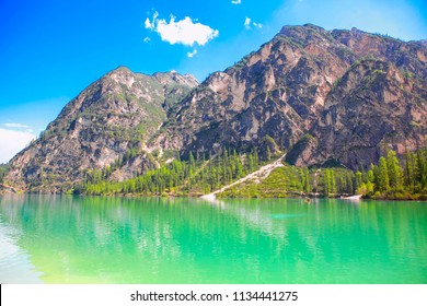 beautiful nature with mountain and lake