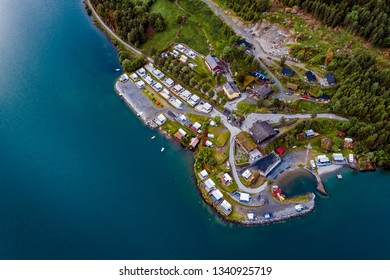 Beautiful Nature Norway natural landscape. Aerial view of the campsite to relax. Family vacation travel, holiday trip in motorhome RV.