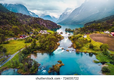 Beautiful Nature Norway natural landscape aerial photography. lovatnet lake.