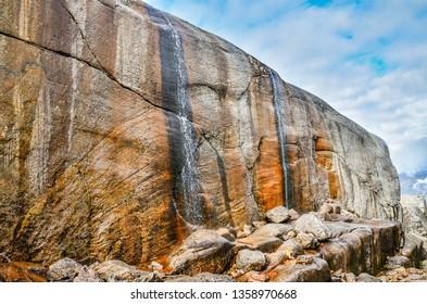 Beautiful nature norwegian fjords Kjerag waterfall Norway stone rocks adventure travel