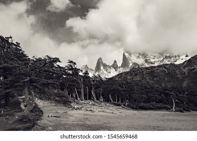 Beautiful nature of Patagonia. Fitz Roy trek, view of Andes mountains, Los Glaciers National Park, El Chalten, Argentina. Black and white photo.