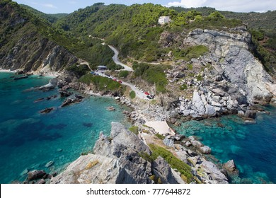 The beautiful nature of the rocky coastline of the Greek island of Skopelos